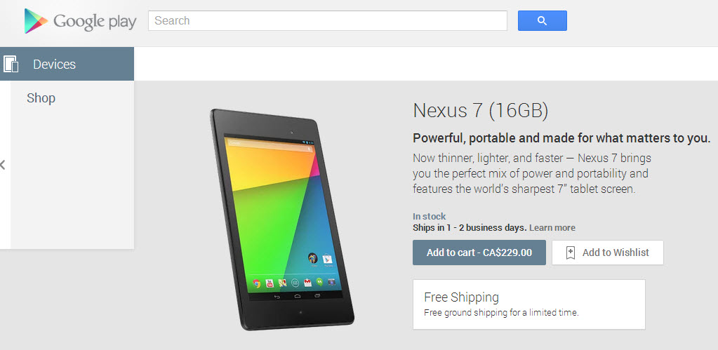New Nexus 7 16GB in Canada Play Store 130813