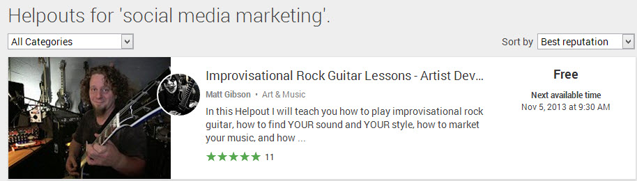 Helpouts Social Media Guitar 131105