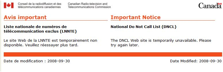 No answer at the Do Not call registry