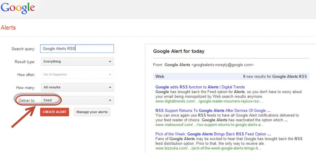 Google Alerts RSS Feed Returns highlighted